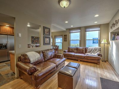 Comfortable Deep Italian Leather Couches and Original Hardwood Floors