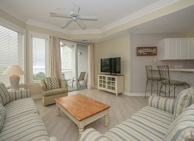 Living Room with New Floors, Balcony Access and Ocean Views at 2313 Sea Crest