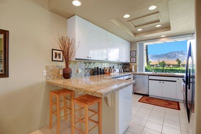 Another Kitchen Angle with the West facing mountain view right out your window.