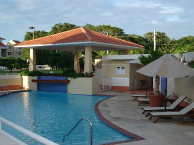 Pool near entrance, next to playground