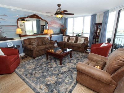 Photo for SeaSpray Riverside 815- Bay Views from Terrace with Coastal Interior!