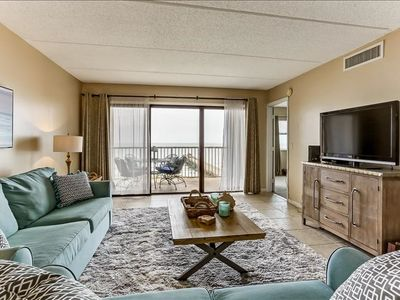 5th Floor 2 Bed/2 Bath Oceanfront condo sleeps 6.   W/D, pool, tennis, community grills and private fishing pier!