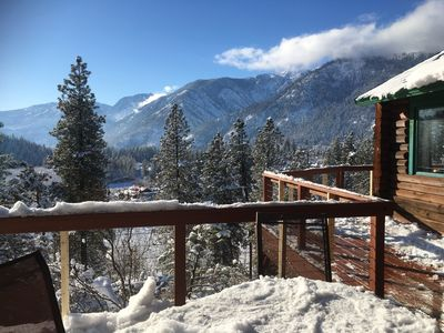 Photo for Peaceful cabin overlooking pear orchard.  Amazing views!  1.5 mi walk to town!