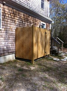 Outdoor Shower with changing area. 4' x 8'. Back of home.