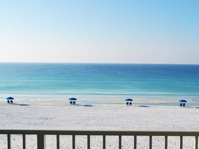 Photo for Amazing panoramic ocean views from third floor condo on white sand beach!