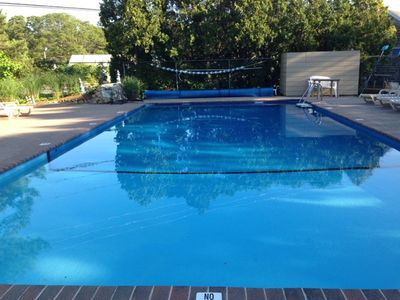 outdoor heated salt water pool for the Yarmouth Country Cabins