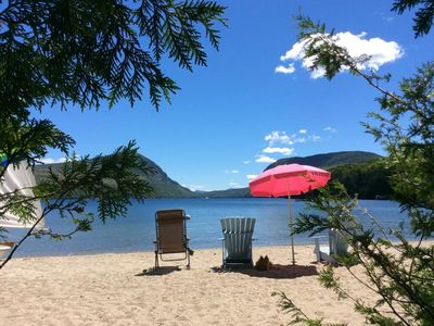 Photo for Willoughby Lake Cottage, Private Sandy Beach, Motor & Sailboats, Mountain Views