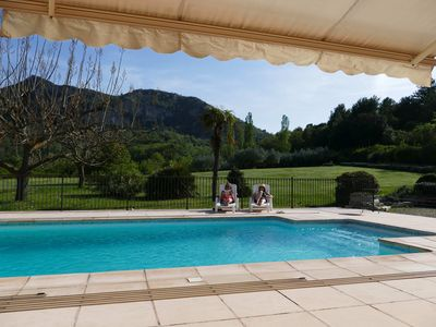 Photo for Villa with swimming pool, tennis, mini golf in beautiful park in Nyons, Provence