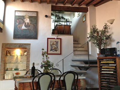 Photo for Panoramic Views over Tuscany from lovely 2BD Flat in Medieval Fortress Town