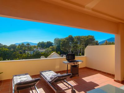 Photo for Las Mimosas penthouse (270m2) with spacious terrace, pool, gym, BBQ, sauna