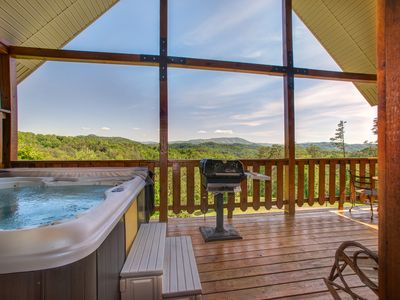 Photo for Cozy, dog-friendly cabin w/ private hot tub & sweeping mountain views