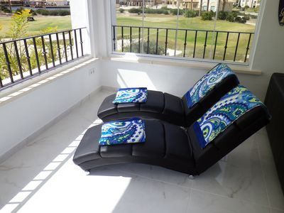 Lounge beds on terrace