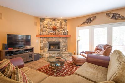 Family room with gas fireplace and HDTV