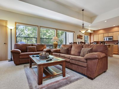 Photo for The Ridge at Sunriver - Condo #42 - Access provided to S.H.A.R.C. Aquatics Park. Only condos next door to S.H.A.R.C. Two minute walk to S.H.A.R.C. Facility. Private Ridge HOA Pool and Year Round Hot Tub Too! Includes 4 bikes.