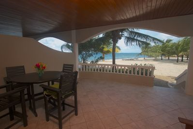 Spacious veranda where you can relax and enjoy the cool Caribbean Sea breezes