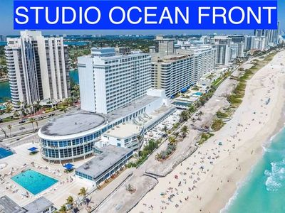 Photo for Large Beachfront STUDIO with Ocean View and FREE Parking, Pool, Wifi ..