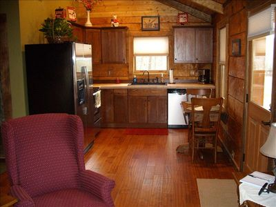 The cabin has a full kitchen.