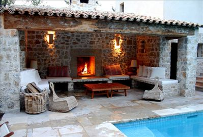 cool poolside lounging by day or cosy fireplace at night