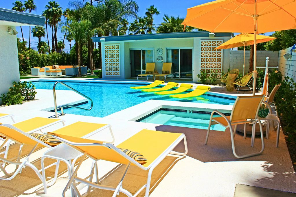 Gorgeous Mid Century Poolside Custom Retro Square Trellises Lemon Yellow Vibe