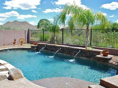 Photo for DESERT OASIS ~ 3 KING BEDS ~ NO REAR NEIGHBORS ~ HEATED PRIVATE POOL!