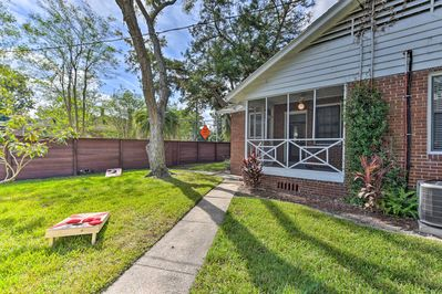 The fenced-in yard is ideal for families.