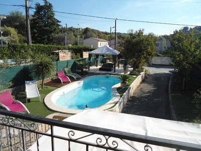 Photo for Top of the villa with heated pool in La Gaude, close to Cagnes and Nice