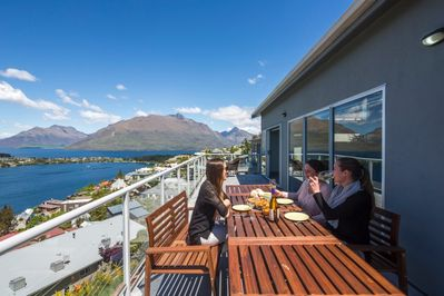 sunny outdoor dining with a view