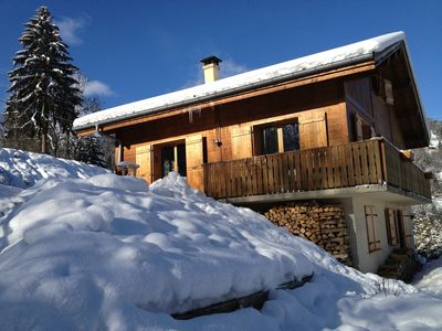 Photo for Modern chalet for 14 pax with great views of Mont Blanc. ideal forskiing