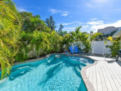 Photo for Private Pool, Steps to beach! 3bd/2ba cute cottage!
