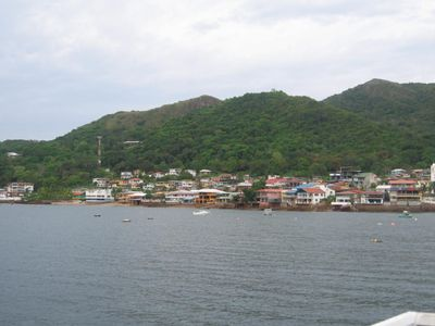 The view from the ferry as it is approaching the Island