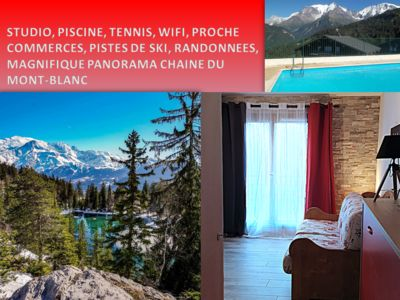 Photo for CHARMING STUDIO SWIMMING POOL & TENNIS WITH VIEW ON MASSIVE MONT BLANC