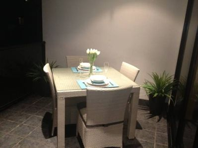 BALCONY: Enjoy the great outdoors with a four person outdoor dining table