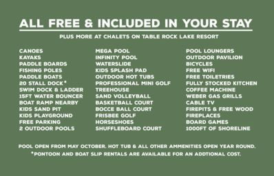 List of free amenities you will get with your stay!