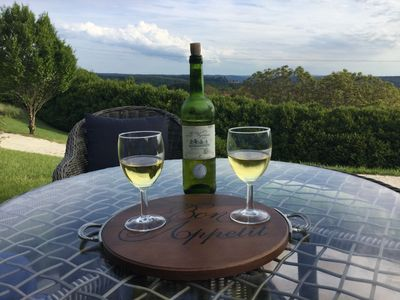 Enjoy the terrace and views of Chateau Chabon and Vezere Valley