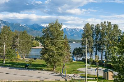 view from deck overlooking Kinsmen Beach and Kiddie Water Park