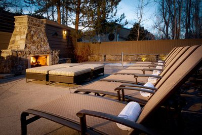 Main Pool Area with Lounge and Outdoor Fireplece