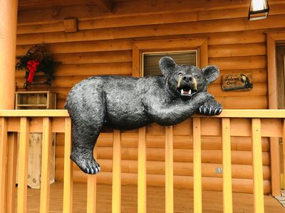 Our friendly bear greets you at the door