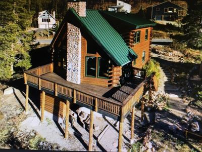 Photo for Large beautiful log cabin with views, hot tub, & fireplace. On bus route!
