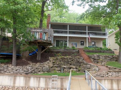 Photo for 4Bd/2Ba-Lakefront home built for Family Fun. Private Dock. Trampoline. Treehouse