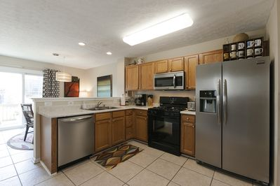 The brand new kitchen with all new Frigidaire Gallery stainless steel appliances