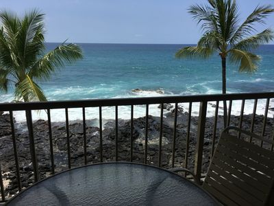 Photo for Absolute Oceanfront Kona Reef Condo-Walk 2 Town & Beach-Top Floor-AC-Sunsets!
