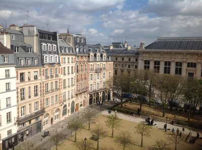 View from apartment of Place Dauphine with its early 17th century buildings