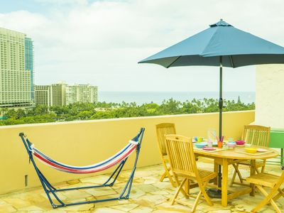 Photo for Large Roof Balcony!! Comfortable 2 Bedroom at Waikiki! (LW14)