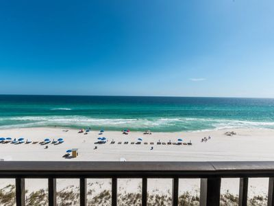 Photo for Beachfront rental with resort pool, hot tub, and private balcony