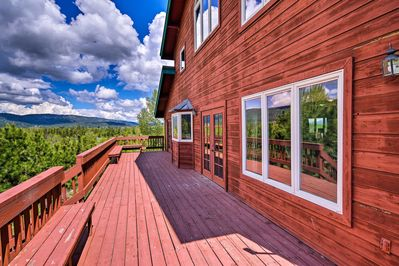 Take in scenic views from the spacious deck of this McCall vacation rental home.