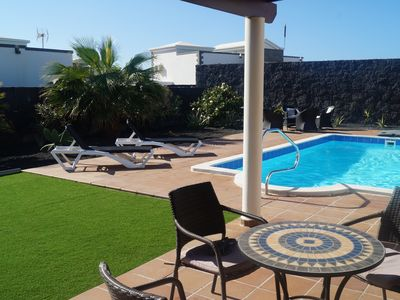 """Photo for Detached Luxury Villa, private heated pool, 55"""" TV,Free Wifi, Free Safe"""