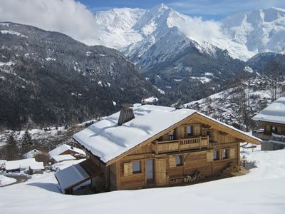 Photo for Splendid new chalet in old wood with stunning views of Mont Blanc