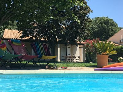 Photo for House with garden & private swimming pool between Nîmes, Pont du Gard and Uzès