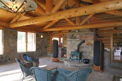 Piano Room with wood stove and world-class sound system.