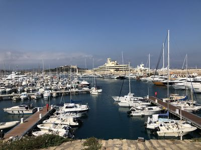Antibes marina is a 5 min walk away, (not the view from our flat unfortunately!)